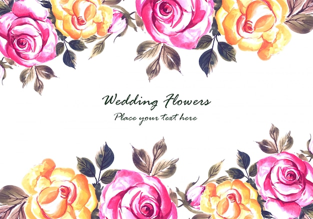 Romantische hochzeitseinladung mit bunter blumenkartenschablone
