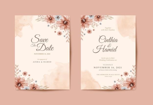 Romantische hochzeitseinladung mit schönem blumenaquarell