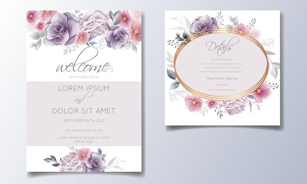 Romantische hochzeitseinladung mit schönem rosen- und kosmosblumenaquarell