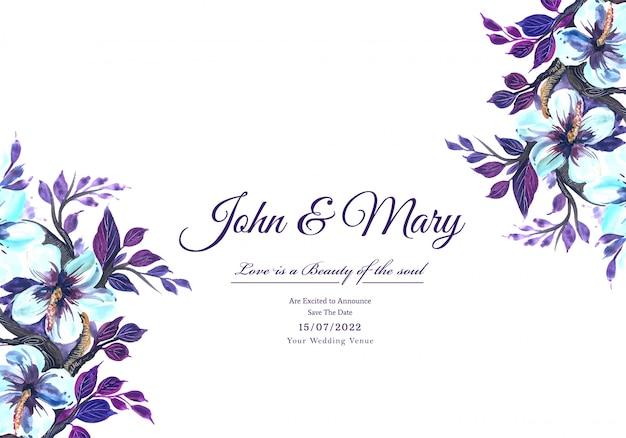 Romantische hochzeitseinladungsblumenrahmenkarte