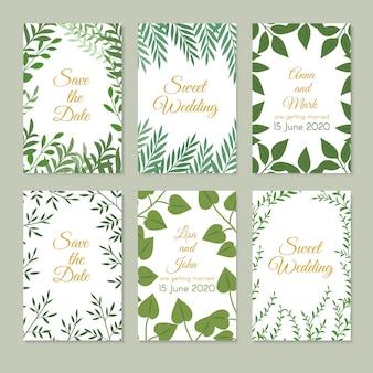 Romantische hochzeitseinladungskarten mit grüner gartendekoration, blättern und niederlassungen. frühlingsblumenkunst-vektorsatz
