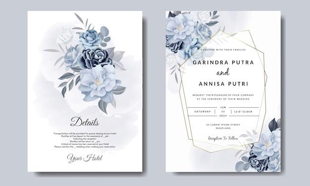 Romantische hochzeitseinladungskartenschablone gesetzt mit blauen blumenblättern