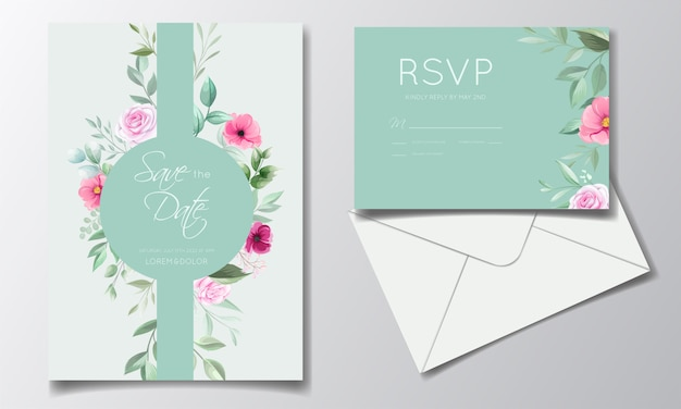 Romantische hochzeitseinladungskartenschablone gesetzt mit rose, kosmosblumen und blättern