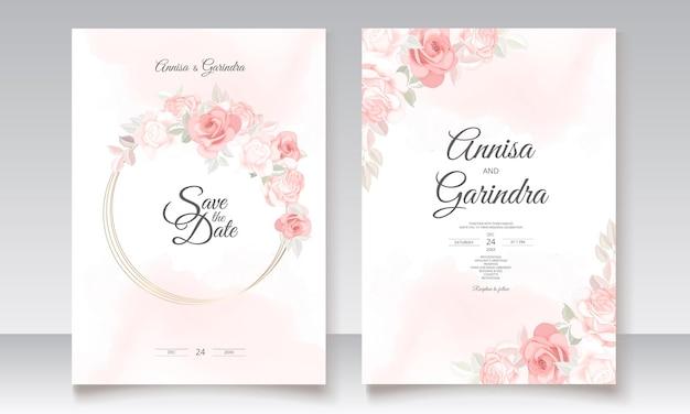 Romantische hochzeitseinladungskartenschablone gesetzt mit schönen blumenblättern
