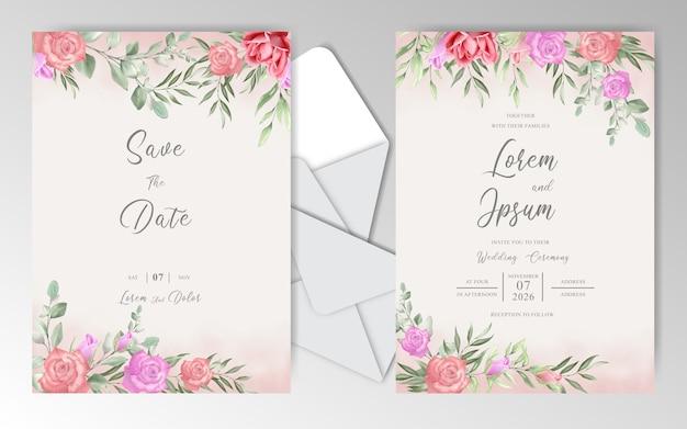 Romantische hochzeitseinladungskartenschablone mit schönen rosen