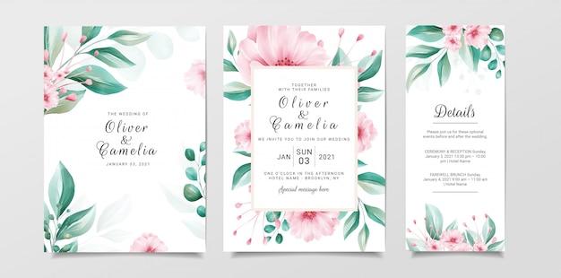 Romantische hochzeitseinladungskartenschablone stellte mit blumen- und aquarellhintergrund ein