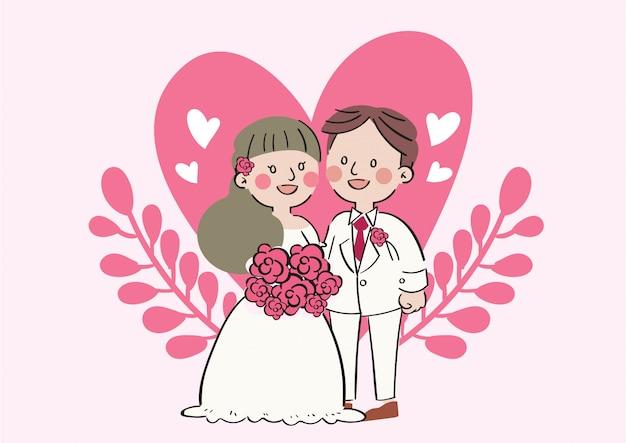 Romantische hochzeitspaarfeier der karikatur des handabgehobenen betrages