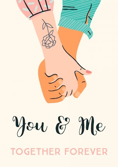 Romantische illustration mit den männlichen und weiblichen händen. liebe, liebesgeschichte, beziehung.