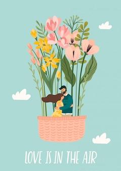 Romantische illustration mit mann und frau. liebe, liebesgeschichte, beziehung.