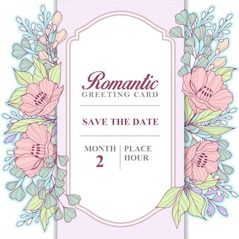 Romantische karte der wilden pastellblumen
