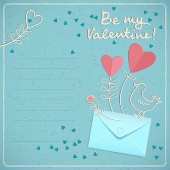 Romantische karte des valentinstags mit den bunten herzen des umschlagvogels und des textfeldes im gekritzelstil auf der blauen hintergrundvektorillustration