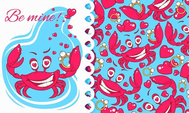 Romantische karte und muster mit niedlichen krabben in der liebe.