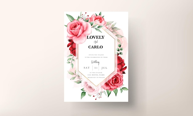 Romantische kastanienbraune blumenhochzeitseinladungskartenvorlage