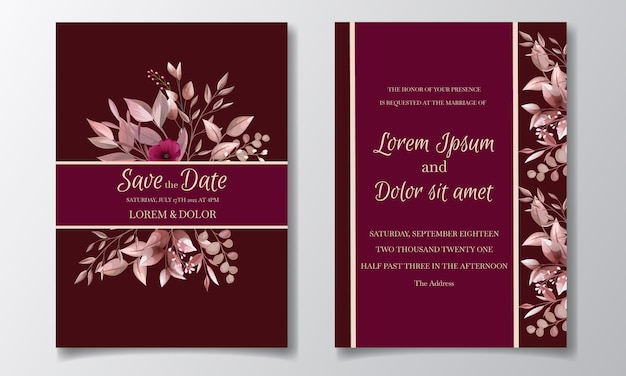 Romantische kastanienbraune hochzeitseinladungskartenschablone gesetzt mit rosenkosmosblumen und -blättern