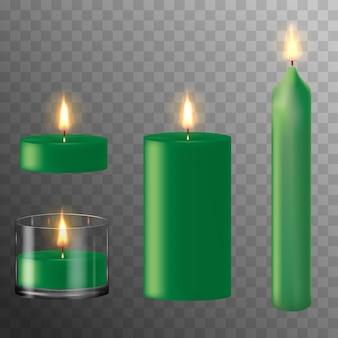 Romantische kerzen aus grünem wachs. satz realistische kerze mit feuer. einstellen