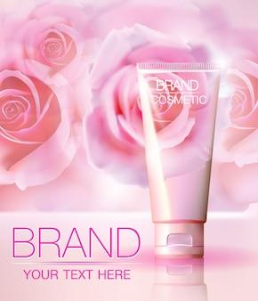 Romantische kosmetische anzeigen, mit realistischem schlauchpaket auf einem abstrakten hintergrund der rose.