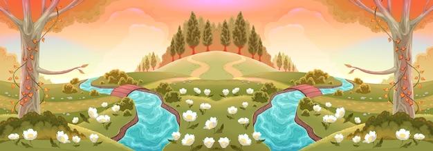 Romantische landschaft mit flüssen und blumen. vektorlandschaftsillustration