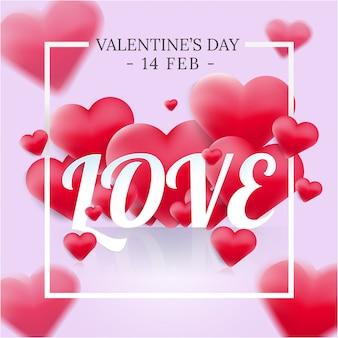 Romantische liebestypographie mit herzen 3d auf süßem farbhintergrund