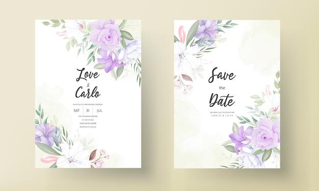 Romantische lila blumenhochzeitseinladungskartenschablone