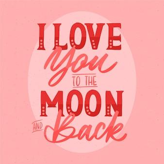 Romantische nachricht in schöner schrift