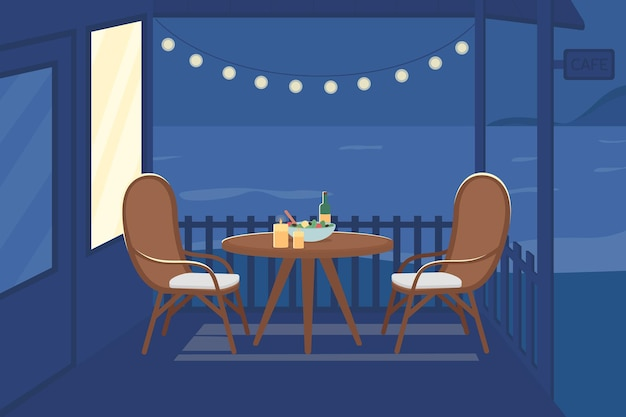 Romantische nacht im café flache farbvektorillustration. tisch für paare zum abendessen am abend. hinterhofparty. sommer 2d-cartoon-außenansicht mit nächtlichem meer im hintergrund
