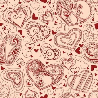 Romantische nahtlose tapete mit hand gezeichneten herzen