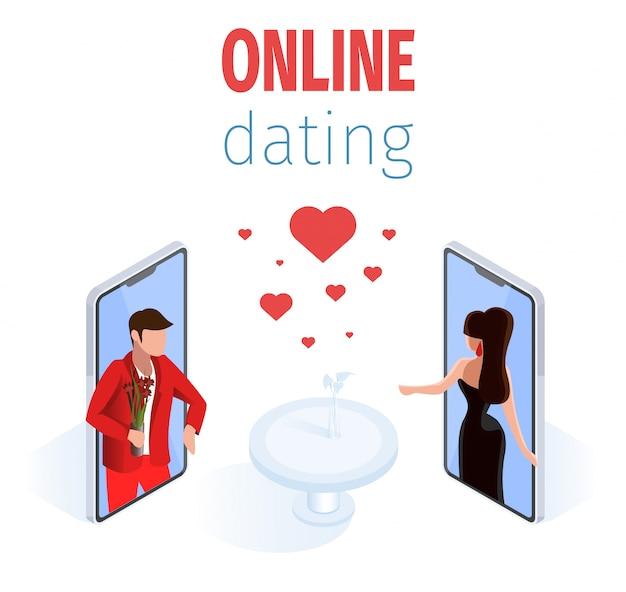 Romantische paare auf telefon-schirm-restaurant-tabelle