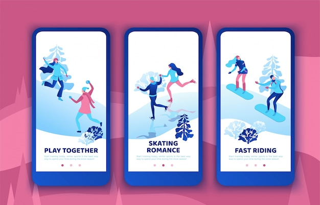Romantische paare, die zusammen, beweglicher app-schablonensatz snowboarden