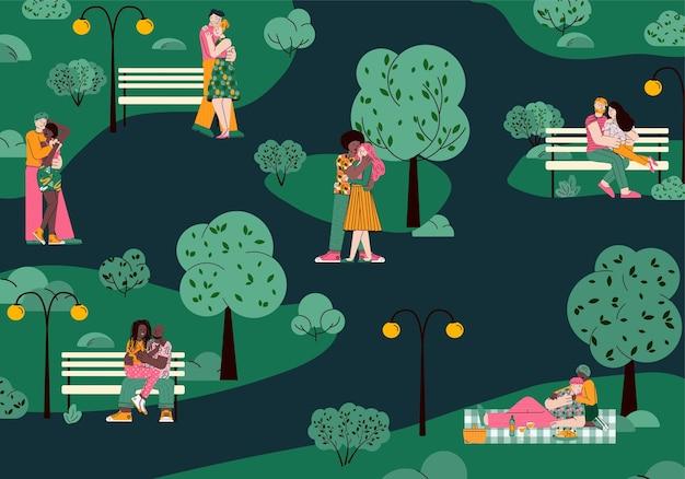 Romantische paare in der liebe, die sich in der nächtlichen parkkarikatur-vektorillustration umarmen