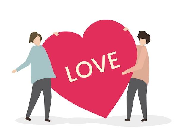 Romantische paare in der liebesillustration