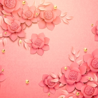 Romantische papierblumen und goldener perlenhintergrund in der 3d illustration