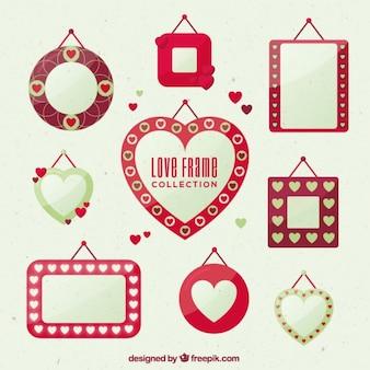 Romantische rahmen in flaches design