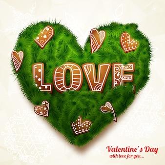 Romantische realistische grußkarte mit inschrift grünes herz von ästen und dekorativen figuren isolierte vektorillustration