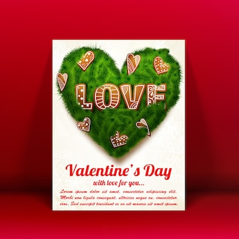 Romantische reizende grußkarte mit textgrünes herz von tannenzweigen und dekorativen elementen isolierte vektorillustration