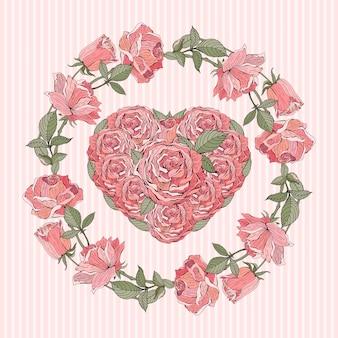 Romantische retro-karte oder fahne mit einem kranz und einem herzen der rosa rosen. blumenarrangement für hochzeitskarten und einladungen.