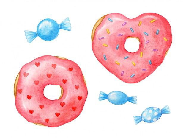 Romantische rosa glasierte donuts mit herzen. handgemalt in aquarell