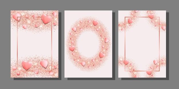 Romantische rosa herzen und glitzervorlagen-set