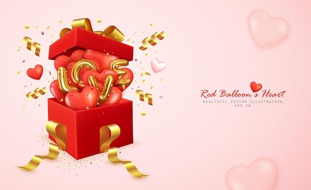 Romantische rote luftballons herz- und buchstabenliebe springen von der geschenkbox ab