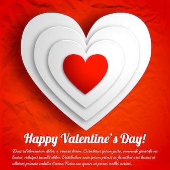Romantische schöne grußkarte mit weißen herzen auf rotem zerknittertem papier lokalisierte vektorillustration