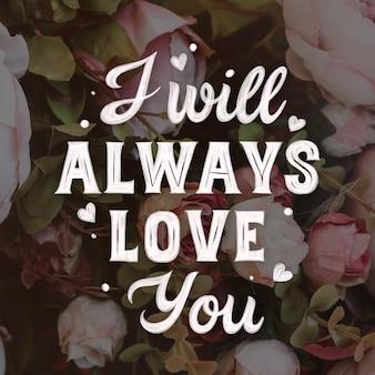 Romantische schrift mit rosen