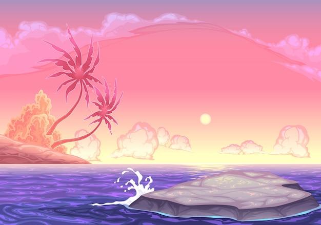 Romantische seascape in den sonnenuntergang vektor-cartoon-illustration