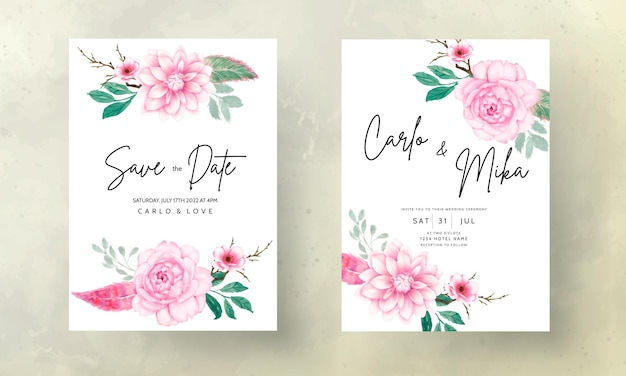 Romantische süße aquarell rosa blumenhochzeitseinladungskarte