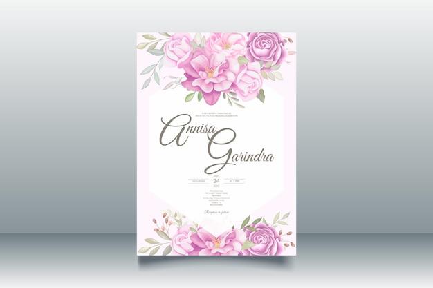 Romantische süße hochzeitseinladungskartenschablone mit schönen blumenblättern premium-vektor