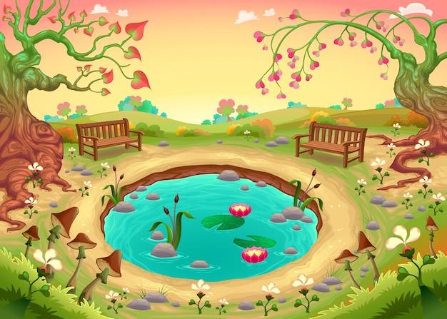 Romantische szene im park vector fantasy illustration