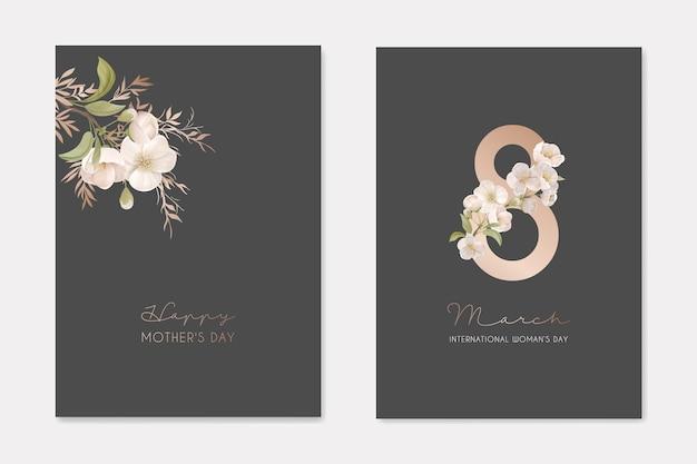 Romantische trendige grußkarten für happy woman's day 8. märz urlaub. weiße kirschblüten-blumen mit blättern auf dunklem hintergrund mit acht zahlen-natur-kunst-flyer-karikatur-flacher vektor-illustration