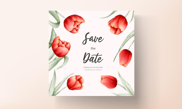 Romantische tulpenblumenhochzeitseinladungskarte