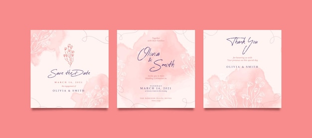 Romantische und süße quadratische hochzeitseinladung für social media post