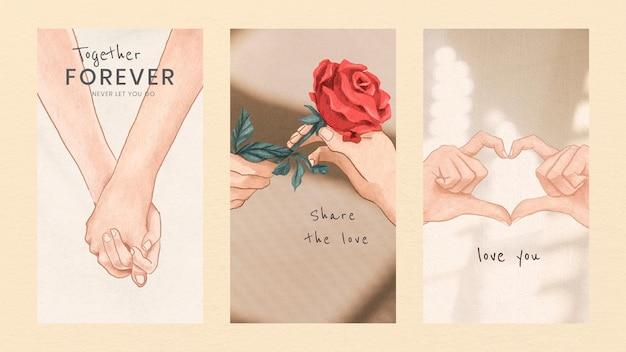 Romantische valentinstag-grafikvorlagen für handy-wallpaper-sammlung