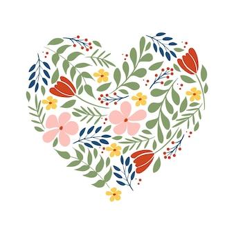 Romantische valentinstag-grußkarte mit herz, blumen, blumen, blätter, lokalisiert.