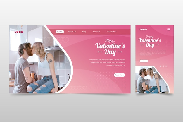Romantische valentinstag-landingpage